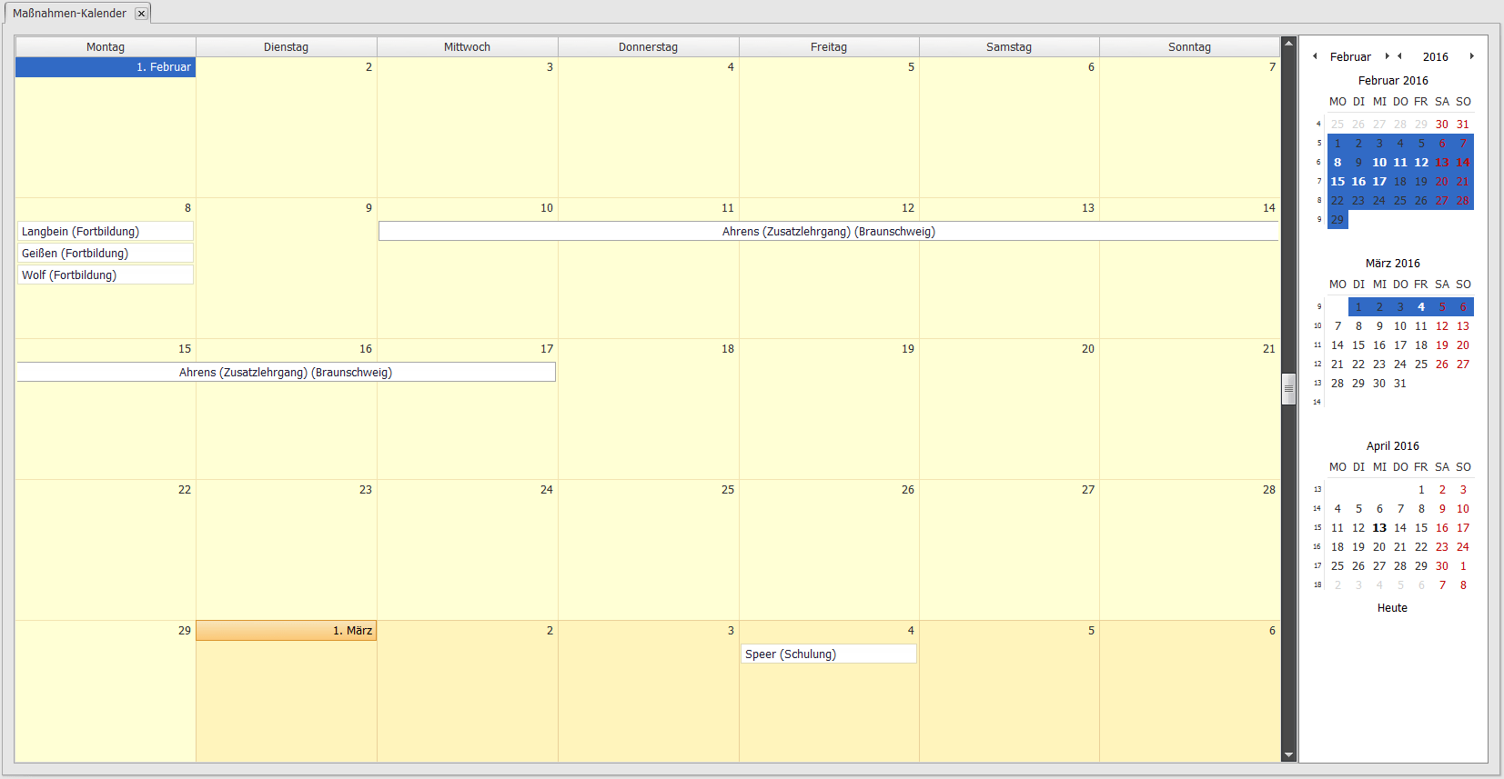 Maßnahmenkalender